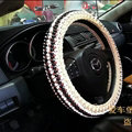 Fashion Beaded Car Steering Wheel Cover Ice Silk 15 Inch 38CM - Black