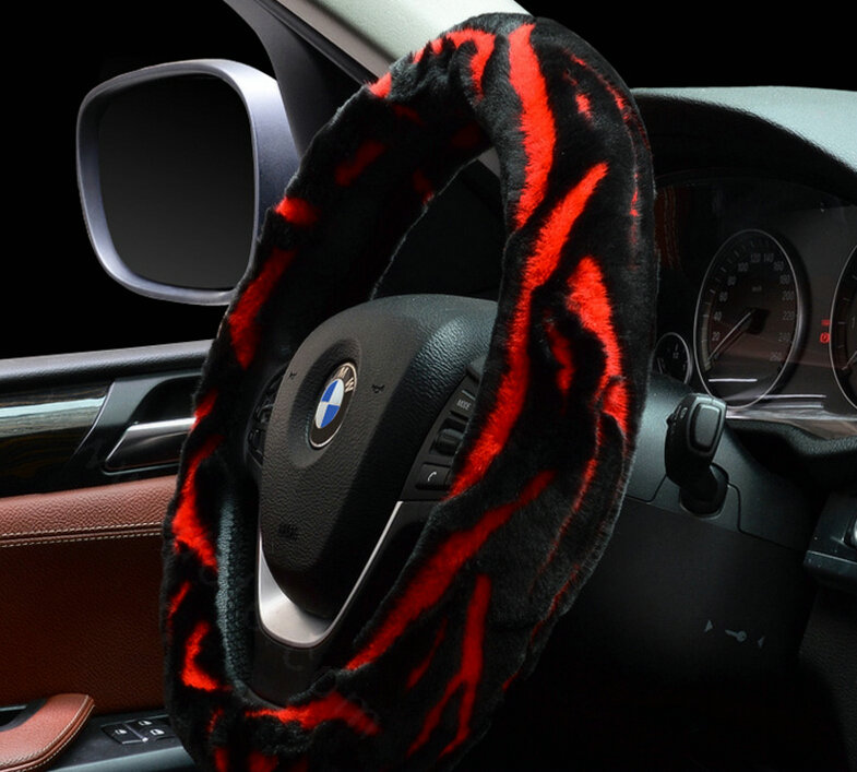 buy wholesale fashion cow print car steering wheel wrap velvet 15 inch 38cm black blue from. Black Bedroom Furniture Sets. Home Design Ideas