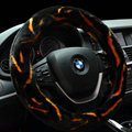 Fashion Cow Print Car Steering Wheel Wrap Velvet 15 Inch 38CM - Black Yellow