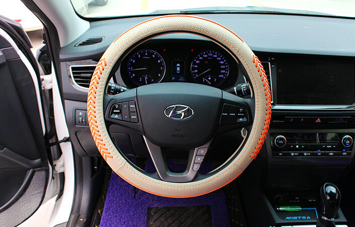 buy wholesale fashion knitting auto steering wheel wrap genuine leather 15 inch 38cm beige. Black Bedroom Furniture Sets. Home Design Ideas