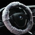 Fluffy Cute Auto Steering Wheel Covers Velvet 15 Inch 38CM - Grey