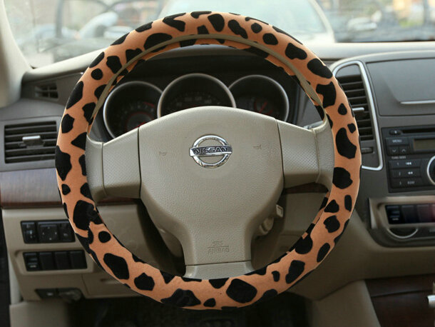 buy wholesale free leopard print auto steering wheel covers velvet 15 inch 38cm brown from. Black Bedroom Furniture Sets. Home Design Ideas