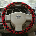 Free Leopard Print Auto Steering Wheel Covers Velvet 15 Inch 38CM - Red