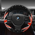 Free Polka Dot Auto Steering Wheel Wrap Velvet 15 Inch 38CM - Black Red