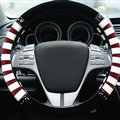 Fringe Car Steering Wheel Wrap Velvet 15 Inch 38CM - Red White