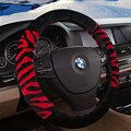Fringe Zebra Print Car Steering Wheel Wrap Velvet 15 Inch 38CM - Black Red