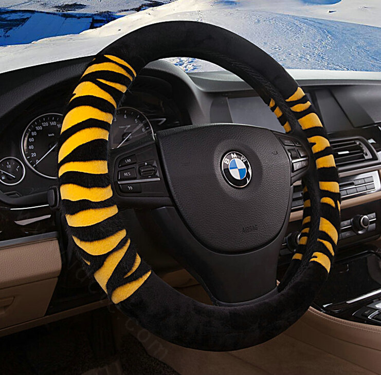 buy wholesale fringe zebra print car steering wheel wrap velvet 15 inch 38cm black yellow from. Black Bedroom Furniture Sets. Home Design Ideas