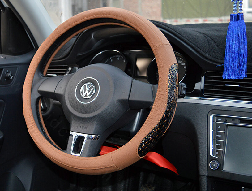 buy wholesale fun snake print auto steering wheel covers crocodile leather 15 inch 38cm brown. Black Bedroom Furniture Sets. Home Design Ideas
