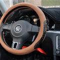 Fun Snake Print Auto Steering Wheel Covers Crocodile Leather 15 Inch 38CM - Brown