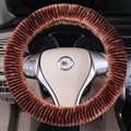 Fuzzy Zebra Print Car Steering Wheel Wrap Velvet 15 Inch 38CM - Coffee