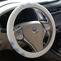 High Quality Beaded Car Steering Wheel Cover 15 Inch 38CM - White Blue