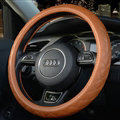 Luxury Car Steering Wheel Covers Cow Genuine Leather 15 Inch 38CM - Orange