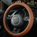 Luxury Car Steering Wheel Wrap Cow Genuine Leather 15 Inch 38CM - Orange