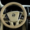 Pretty Car Steering Wheel Covers Sheepskin Leather 15 Inch 38CM - Beige