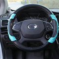 Pretty Car Steering Wheel Covers Sheepskin Leather 15 Inch 38CM - Electric Blue