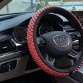Quality Beaded Car Steering Wheel Cover Genuine Leather 15 Inch 38CM - Red