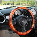 Snake Print Auto Steering Wheel Covers PU Leather 15 Inch 38CM - Coffee
