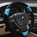 Unique Auto Steering Wheel Wrap Velvet 15 Inch 38CM - Black Blue