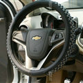 Unique Beaded Car Steering Wheel Cover PU Leather 15 Inch 38CM - Black