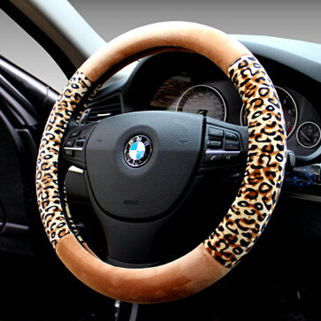 buy wholesale unique leopard print car steering wheel covers velvet 15 inch 38cm black red. Black Bedroom Furniture Sets. Home Design Ideas