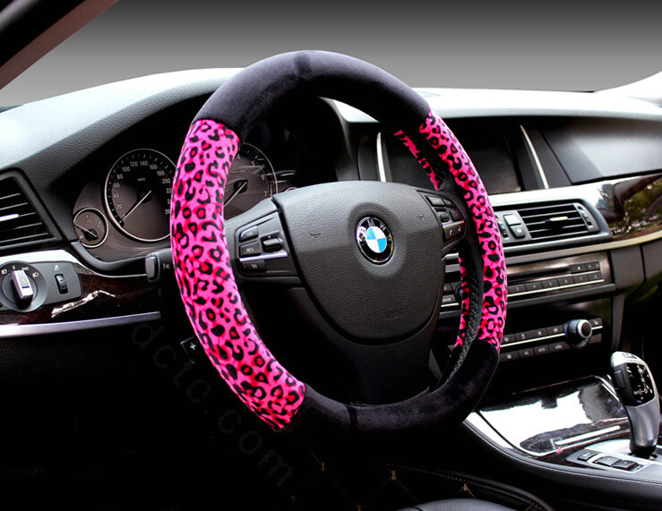 buy wholesale unique leopard print car steering wheel covers velvet 15 inch 38cm beige yellow. Black Bedroom Furniture Sets. Home Design Ideas