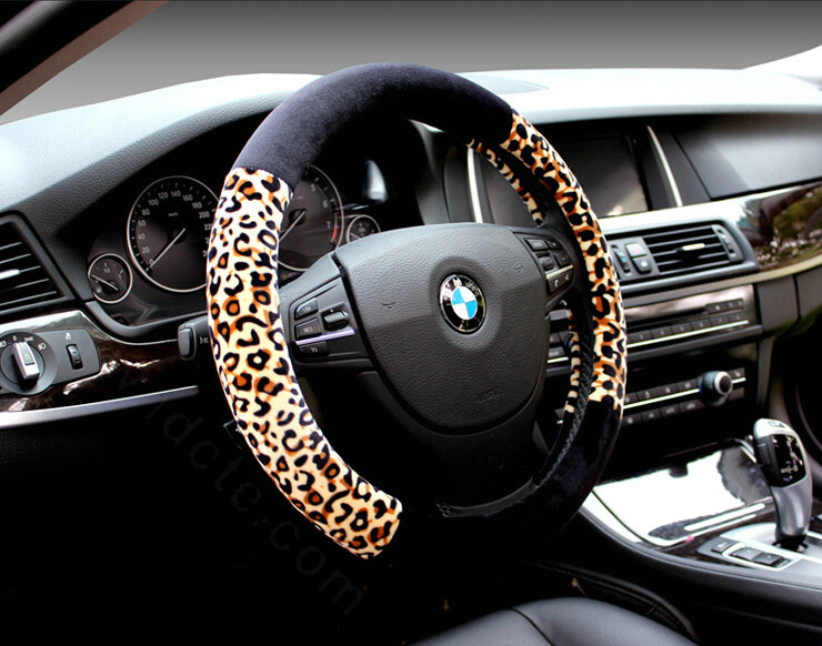buy wholesale unique leopard print car steering wheel covers velvet 15 inch 38cm black yellow. Black Bedroom Furniture Sets. Home Design Ideas