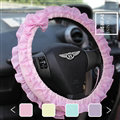 Bowknot Lace Cloth Universal Elastic Auto Steering Wheel Covers 15 inch 38CM - Pink