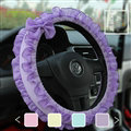 Bowknot Lace Cloth Universal Elastic Auto Steering Wheel Covers 15 inch 38CM - Purple