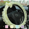 Bowknot Lace Cloth Universal Elastic Auto Steering Wheel Covers 15 inch 38CM - Yellow