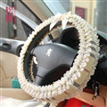 Calssic Female Bowknot Lace Car Steering Wheel Covers Cotton 15 inch 38CM - Beige