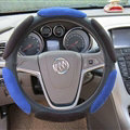Calssic Universal Car Steering Wheels Covers Suedette Leather 15 Inch - Black Blue