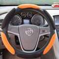 Calssic Universal Car Steering Wheels Covers Suedette Leather 15 Inch - Black Orange