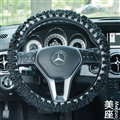 Classic Plaid Fold Lace Cotton Flax Car Steering Wheel Covers 15 inch 38CM - Black