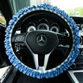 Classic Plaid Fold Lace Cotton Flax Car Steering Wheel Covers 15 inch 38CM - Blue