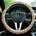 Classic Plaid Fold Lace Cotton Flax Car Steering Wheel Covers 15 inch 38CM - Coffee