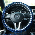 Classic Plaid Fold Lace Cotton Flax Car Steering Wheel Covers 15 inch 38CM - Deep Blue