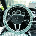 Classic Plaid Fold Lace Cotton Flax Car Steering Wheel Covers 15 inch 38CM - Mint green