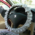 Cute Bowknot Flower Fold Lace Flax Car Steering Wheel Covers 15 inch 38CM - Grey