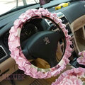 Cute Bowknot Flower Fold Lace Flax Car Steering Wheel Covers 15 inch 38CM - Red