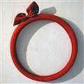 Cute Bowknot Suedette Universal Car Steering Wheels Covers 15 Inch - Red