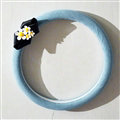 Cute Daisy Suedette Universal Car Steering Wheels Covers 15 Inch - Blue