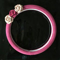 Cute Flower Suedette Universal Car Steering Wheels Covers 15 Inch - Rose