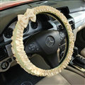 Elegant Bowknot Lace Fold Car Steering Wheel Covers Cotton 15 inch 38CM - Beige