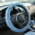 Elegant Bowknot Lace Fold Car Steering Wheel Covers Cotton 15 inch 38CM - Blue