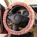 Elegant Bowknot Lace Fold Car Steering Wheel Covers Cotton 15 inch 38CM - Pink
