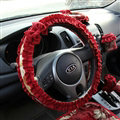 Elegant Bowknot Lace Fold Car Steering Wheel Covers Cotton 15 inch 38CM - Red