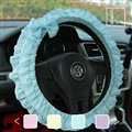 Female Bowknot Lace Cloth Universal Auto Steering Wheel Covers 15 inch 38CM - Blue