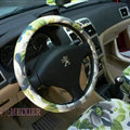 High Quality Flower Flax Universal Auto Steering Wheel Covers 15 inch 38CM - Green