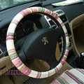 High Quality Stripe Flax Universal Auto Steering Wheel Covers 15 inch 38CM - Red