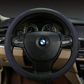 Luxury Genuine Leather Suede Car Steering Wheels Covers 15 Inch - Black Blue